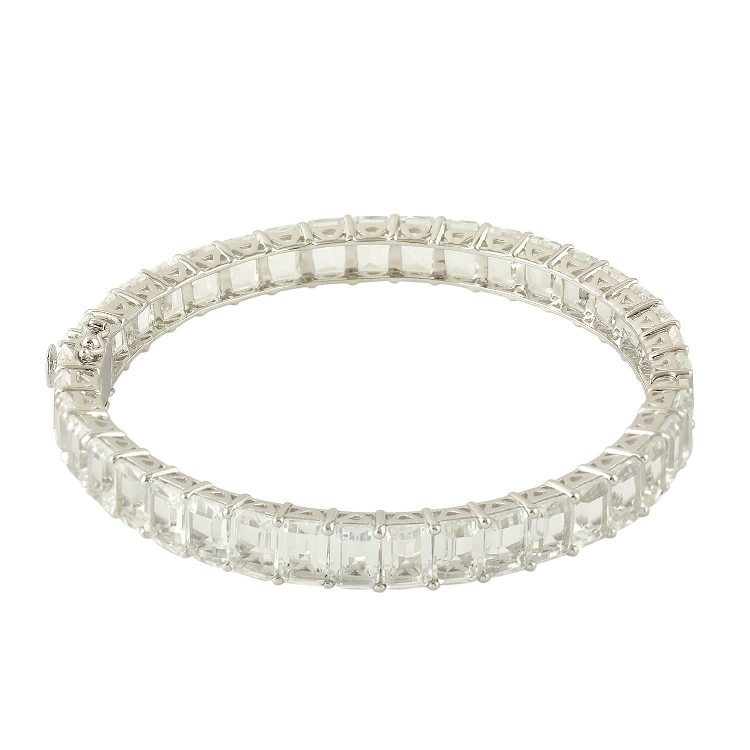 155cfdffb7365 18K Gold & Silver White Topaz Baguette Bangle by Artisan