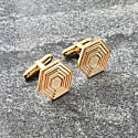 Hexagon Cufflinks In Gold Vermeil image