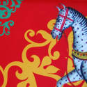 Kalighat Horse Classic Silk Scarf Collection Red & Green image