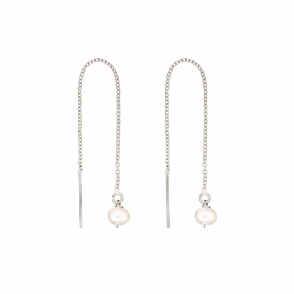 LILY & ROO Sterling Silver Pearl Drop Threader Earrings