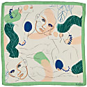 Pistachio Green Women Faces Square Silk Scarf image