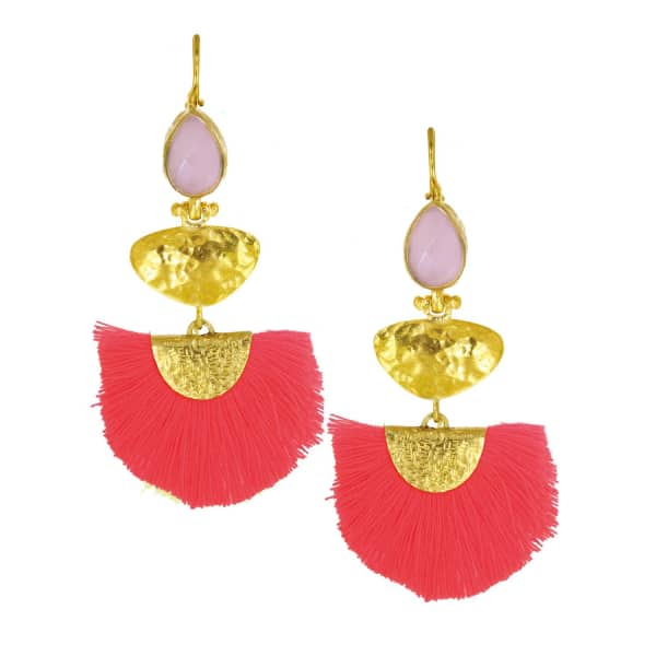 OTTOMAN HANDS Rose Quartz Stone & Coral Tassel Earrings