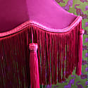 Raspberry Pink Velvet Crown Shade With Red Fringe & Pink Tassels image