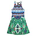 Green Chiffon Crew Neck Midi Dress image