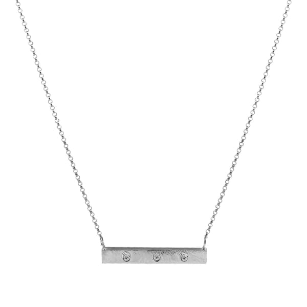 YVONNE HENDERSON JEWELLERY Silver Bar Necklace with White Sapphires