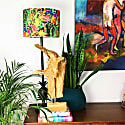 Drum Lamp Shade In Bright Wild Flowers On Dark Background, Liberty Design image