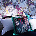 'Grassed' Print Satin Cushion Backed In Teal Velvet With Green Fringing 45X45Cm image
