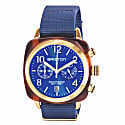 Briston Clubmaster Classic Chronograph Tortoise Shell Acetate, Navy Blue Sunray Dial And Yellow Gold, Navy Blue Nato Strap image
