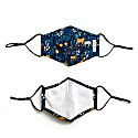 2 Pack 100% Organic Cotton Face Mask With Filter Pocket Blue Leopard No.1 image