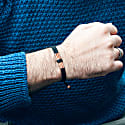 Solid & Rustic Copper Bracelet - Handmade Of Black Waxed Cord - Great Viking Copper image