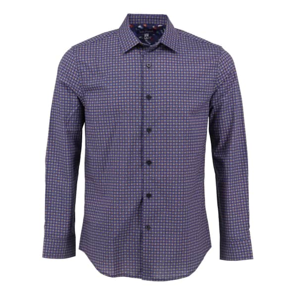 LORDS OF HARLECH Nigel Shirt In Navy Wiggle Motif