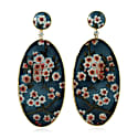 18K Gold Earring With Hand Painted Enamel With Diamonds image