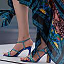 The Hamptons Blue Metallic Block Heels Sandals image