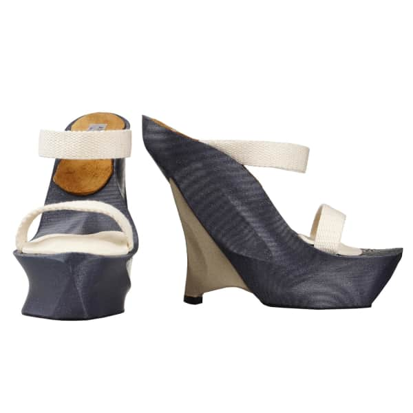JIRI KALFAR Grey & Champagne 3D Print Shoes With White Straps