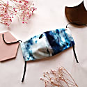 Blue & White Stripe Abstract Face Mask - Ink image