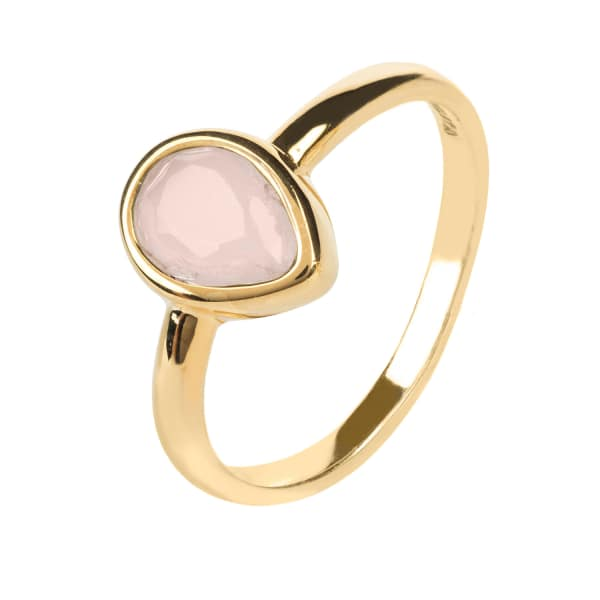 Pisa Mini Teardrop Ring Gold Rose Quartz