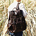 Military Style Leather Backpack In Dark Brown image