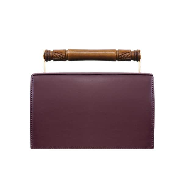 AEVHA LONDON Helve Clutch In Mulberry With Wooden Handle, Black