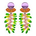 Green & Pink Glitter Resin Leaf Earrings image