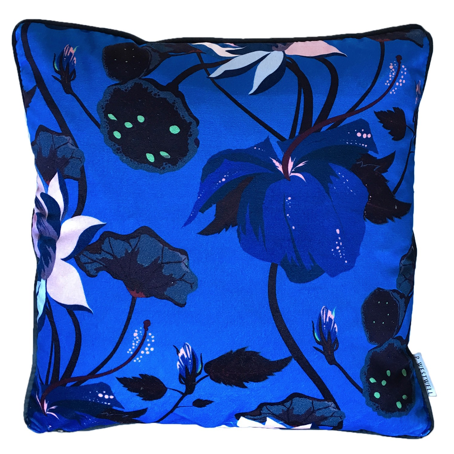 P.Westwell - Large Lobiscus Velvet Cushion in Lustrous Blue