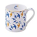 Flock China Mug - Blue & Ochre Swallow Print On White image