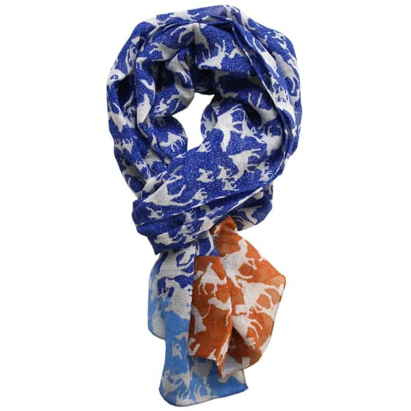 LORDS OF HARLECH Sahara Print Scarf In Blue