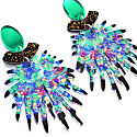 Abstract Art Emerald & Blue Statement Dangle Laser Cut Earrings image