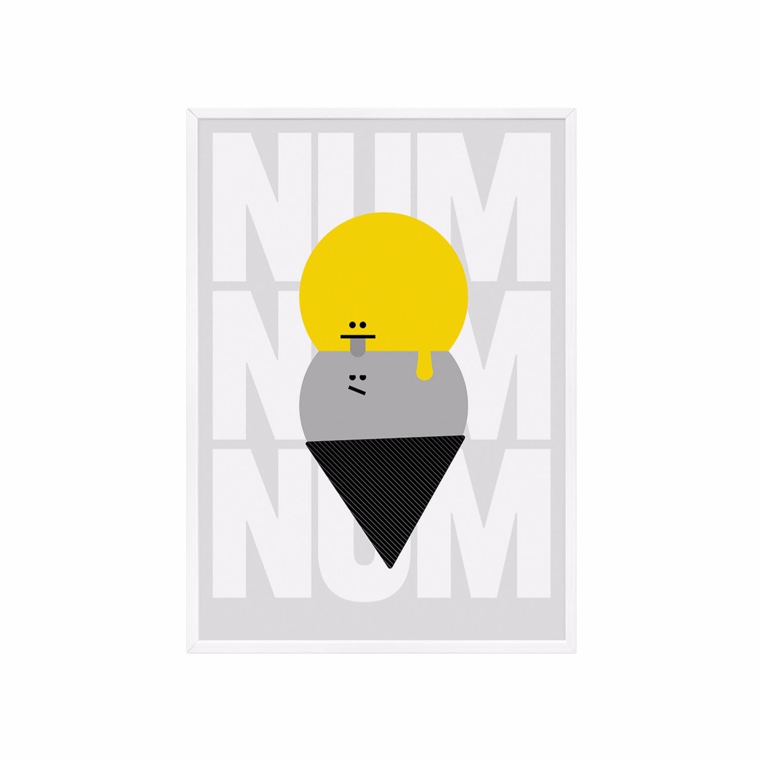 Num Num Yellow Grey Poster A3 White Frame by Milk and Poop