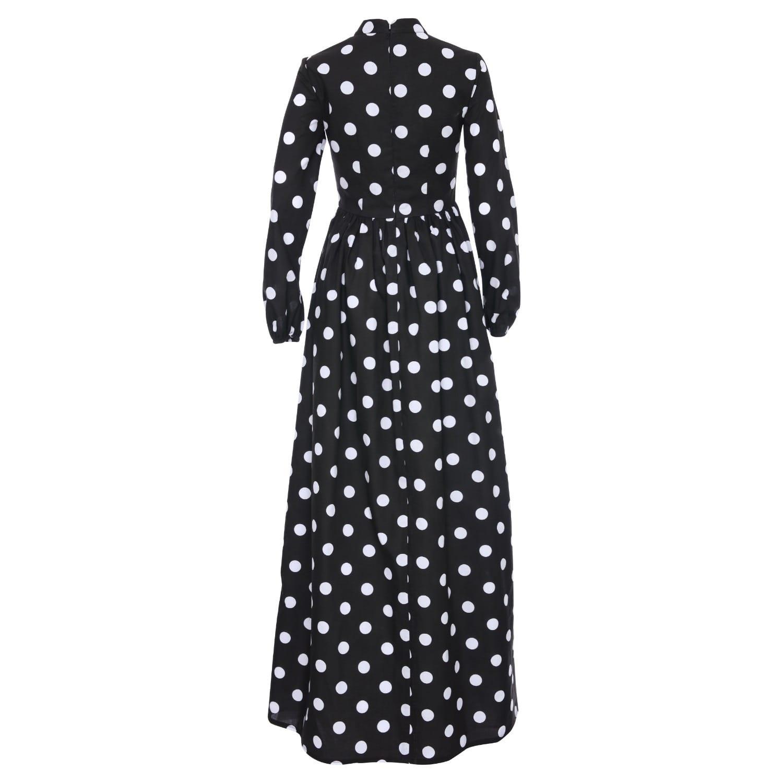 a3ba9b635d60e Monique Black Polka Dot Maxi High Collar Dress With Long Sleeves ...
