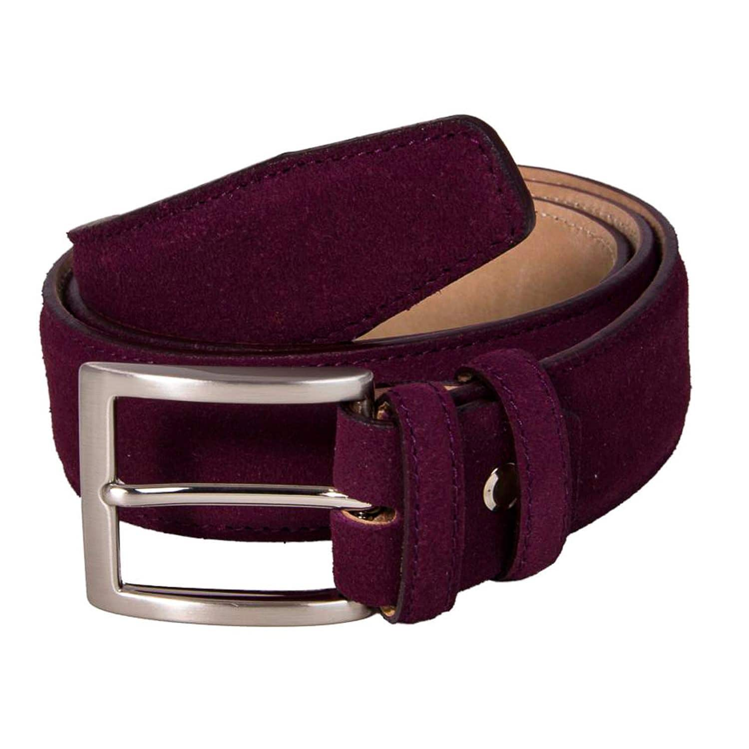 Red 40 Colori Mens Trento Suede Leather Belt