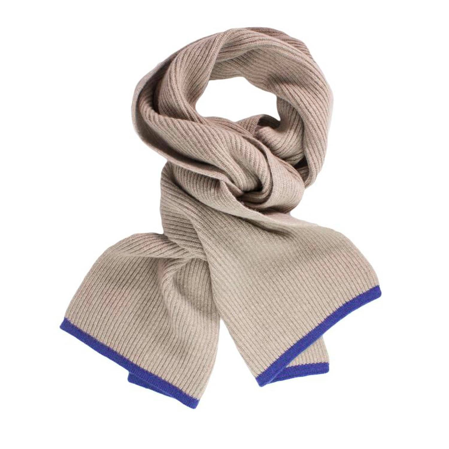 d77d63920 Beige Petrol Blue Small Ribbed Wool & Cashmere Scarf | 40 Colori ...