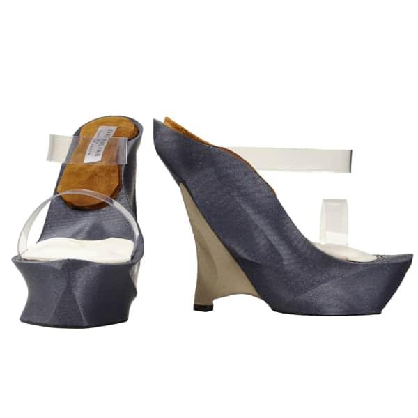 Jiri Kalfar Grey & Champagne 3D Print Shoes With Pvc Straps