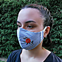 Pack Of 2 - Adjustable / Triple Layer Cotton Face Masks With Nose Wire & Embroidery Details - Blues image