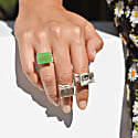 Pietra Sterling Silver Cocktail Ring With Green Amethyst Gemstone image