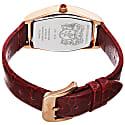 Women's Chiara 1261 Tonneau Swiss Quartz Italian Leather Strap Watch Gold & Red image