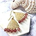 Red Strawberry Quartz Triangular Hook Earrings image