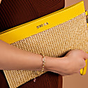 Wicker clutch with leather details and strap - yellow image