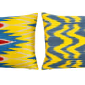 Blue & Yellow Handcrafted Silk Ikat Cushion  image