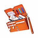 Orange & Black English Leather Clutch Bag Travel Wallet image