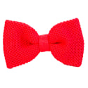 Red Pink Solid Silk Knitted Bow Tie image