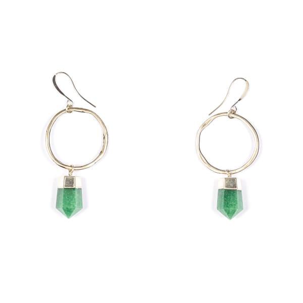 TIANA JEWEL Livia Green Quartz Hoop Earrings