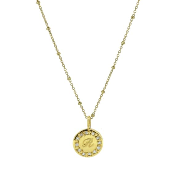 YVONNE HENDERSON JEWELLERY White Sapphire Edged Initial Necklace - Gold