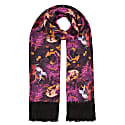 Delores Hand Tasseled Silk Twill Scarf In Białowieża Forest Print Deep Mauve image
