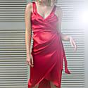Lea Silk Wrap Dress in Red image