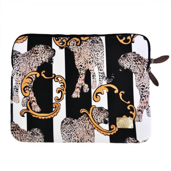 JESSICA RUSSELL FLINT Striped Leopard 13Inch Laptop Case With Velvet Lining