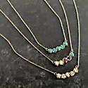 14K Gold Rainbow Claw 3 Prong Curve Necklace With Natural Rose-Cut Diamonds, Pearls, & Precious Stones image