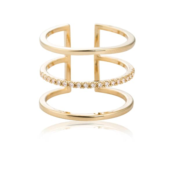 ASTRID & MIYU Triple Bewitched Ring Gold