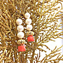 Round Freshwater Pearls & Natural Bamboo Coral Drop Earrings image