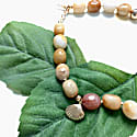 Irregular Nugget Golden Jade With Shell Charm Choker image
