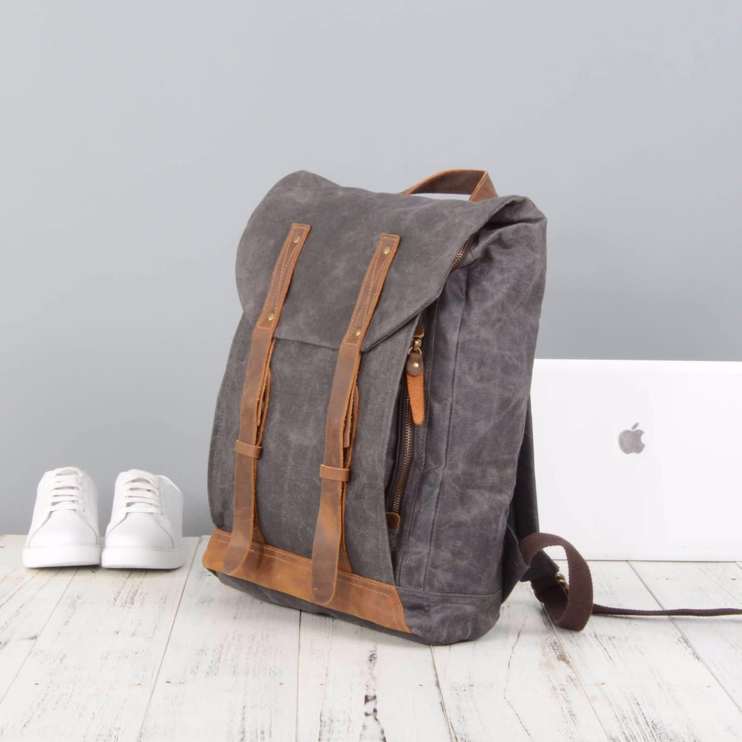 eccbf6bc0 Leather Straps Waxed Canvas Backpack Grey | EAZO | Wolf & Badger